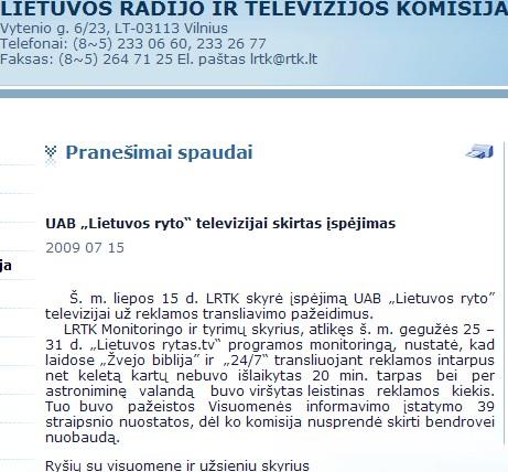 """""""LIETUVOS RYTO"""" TV PER KRIZĘ TURI PER DAUG REKLAMOS?"""